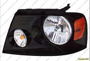 Head Lamp Driver Side Black Bezel Without Chrome Trim High Quality Ford F150 2006-2008