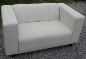 Cream real leather 2 seater sofa