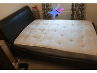 Black leather double bed with mattress nearly new