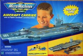 Hasbro Micro Machines Military Aircraft Carrier with Jet Fighter and Missile Launching Action!