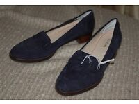 ladies Boden blue suede loafers, size 40.