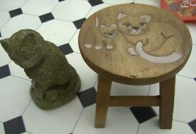 Cat Concrete Ornament + Cat & kitten Wooden Stool Bristol
