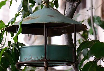 GARDEN Bird Feeder w/chain & hook  Vintage,Worn Weathered Metal Bird Buffet