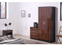 Walnut/Black HIGH GLOSS 3 PIECE Bedroom Furniture Set - Wardrobe Chest Bedside