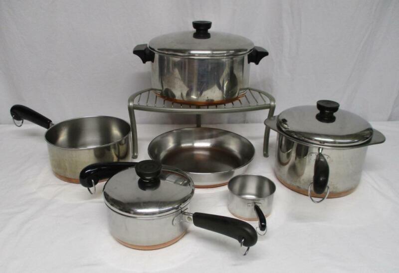 Revere Ware copper clad stockpot saucepans skillets lids pots pans 10 PIECE SET