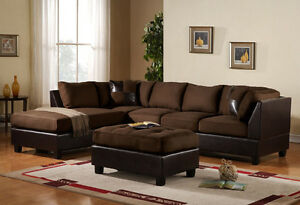 3pc sectional sofa microfiber bonded leather set w chaise brown