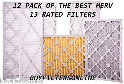12 PACK GLASFLOSS MERV 13 FURNACE AC PLEATED AIR FILTERS BEST & HIGHEST