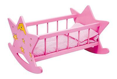 Dolls Wooden Pink Star Moon Rocking Cradle Bed Cot Girls Toy with Bedding