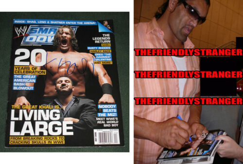 "THE GREAT KHALI signed Autographed ""WWE"" SMACKDOWN MAGAZINE - PROOF - COA"