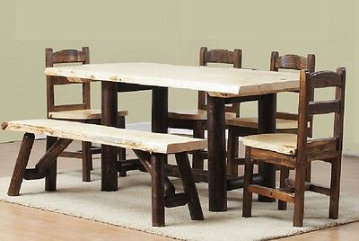 Log Cedar & Pine dining set dinette table rustic bed harvest furniture (Log Dining Table)
