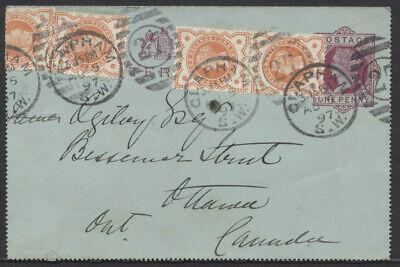 1897 GB 1p Letter Card Uprated, Clapham England to Ottawa Canada