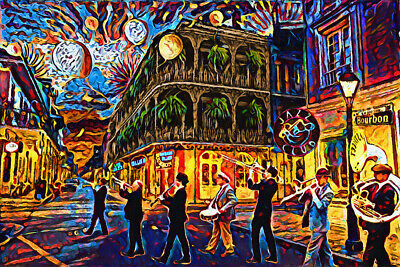 New Orleans Art Print, Mardi Gras Canvas Painting Print, Colorful Home Decor