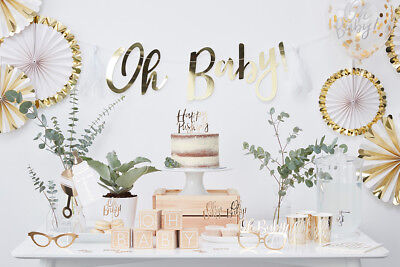 Baby Shower Gold Foiled Oh Baby!  Party Plates Cups Napkins Tablecover Confetti](Baby Shower Plates Napkins Cups)