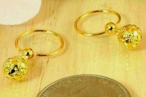 22K THAI BAHT DP GOLD ~ FILIGREED BEAD GLOBE BALL DANGLE PETITE HOOP EARRINGS
