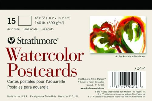 """Strathmore 704-4 Blank Watercolor Postcard Pad of 15, 140lb Cold Pressed, 4""""X 6"""""""
