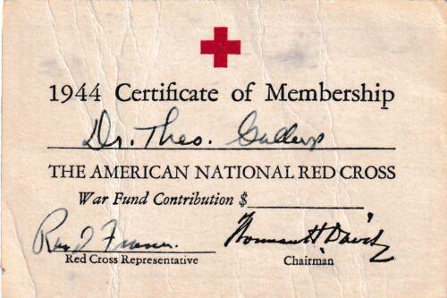 Vtg. 1944 American National Red Cross Membership Card Certificate of Membership