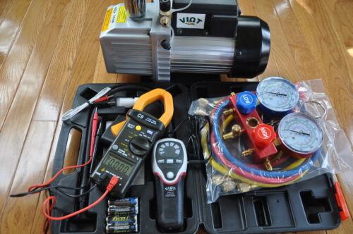 HVAC Professional Tools:Vacuum Pump+Manifold+Leak Detector+Clamp Meter+Car Kit