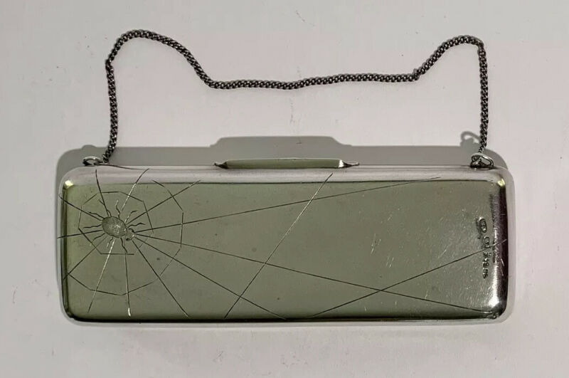 Antique RUSSIAN 84 SILVER SPIDER & WEB ENGRAVED PURSE HALLMARKED