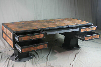 Vintage Industrial Wooden Desk with Drawers.  Reclaimed Wood Desk with Storage.