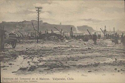 Chile Valparaiso Destroyos Del Temporal En El Malecon Ed  Allan N 125