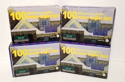 LOT OF 4 SETS ~ NEW VINTAGE 100 MINIATURE CHRISTMAS LIGHTS ICICLE SET INDOOR/OUT