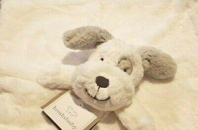 Infant Koalababy White & Gray Plush Dog Security Blanket with Rattler 15x15