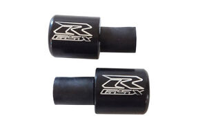 Black GSXR Engraved Bar Ends Weights Sliders For Suzuki Sportbike Motorcycle PR