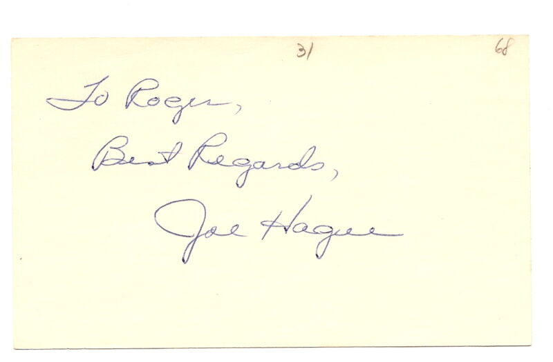 Joe Hague Autograph 3X5 Cardinals 1968 D-94 EX!!