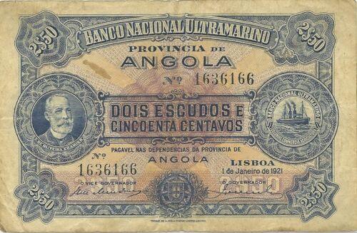 ANGOLA PORTUGUESE ~ 2 1/2 (2,50) ESCUDOS ~ 1921 ~ P-56 ~ VERY SCARCE TYPE