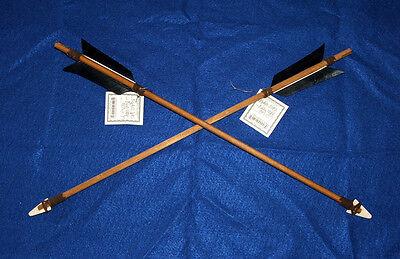 "Set of 2 Authentic Native American Arrows 19"" Black Fletching Bone Arrowheads 01"