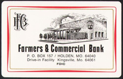 Vintage playing card FARMERS and COMMERCIAL BANK Holden and Kingsville Missouri