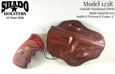 """- SHADO Leather Holster Model 123R Right Hand Brown OWB Smith & Wesson K Frame 4"""""""