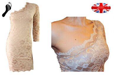 ASOS Bodycon scalloped mini DRESS beige Oyster Latte Taupe lace  one shoulder