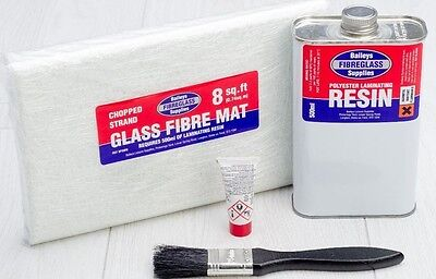 Fibreglass Repair Kit GRP Resin 8 Square Feet Matting Glass Fibre