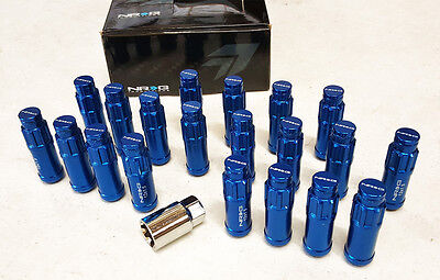 NRG STEEL EXTENDED LOCKING LUG NUTS & DUST CAP COVER SET 12X1.5 BLUE (Set of 20)