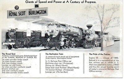 Burlington Train-Royal Scot-Pride Of The Prairie Century Of Progress Postcard 33