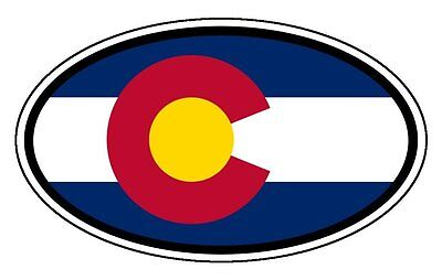 State Flag Bumper Sticker - Colorado State Flag Car Hood Bumper Sticker Decal Oval 3