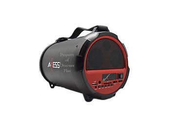 Axess Spbt1037 Portable Rechargeable Bluetooth Cylinder Speaker USB SD EQ Bass