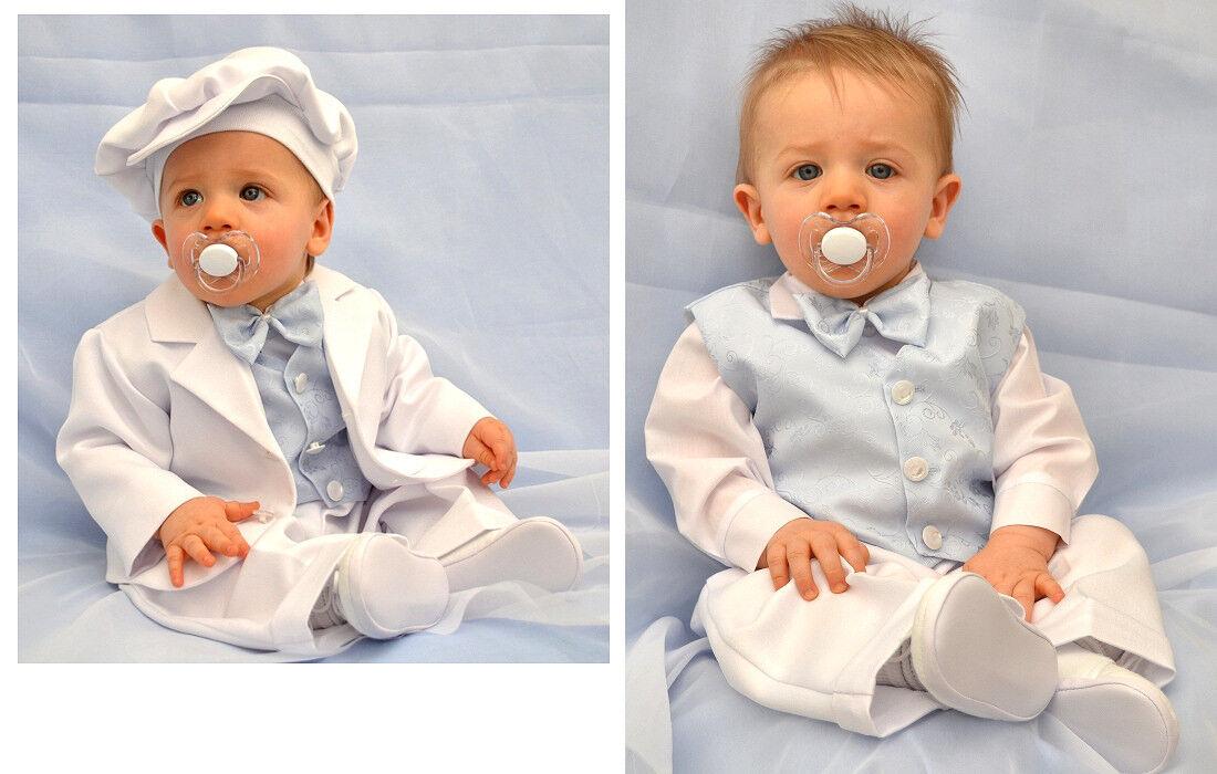 ABITO da BATTESIMO vestito bambino completo cerimonia bianco-celeste tg 62-86