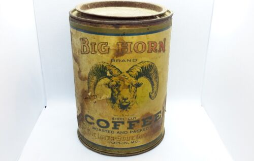 Vintage Joplin MO Missouri advertising Big Horn Coffee Tin Can Paper Label 1lb