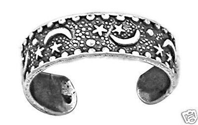 Adjustable Moon N Stars Toe Ring Sterling Silver 925 Best Price Jewelry Gift