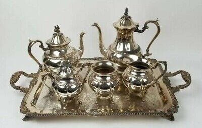Silver Plate Teapot with wood handle Fancy Scrollwork details Silver over Copper Lovely VGC