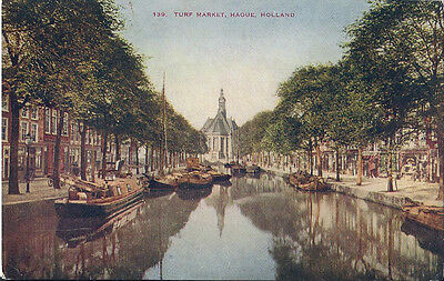 Postcard Holland Netherlands The Hague Turf Market 1920s