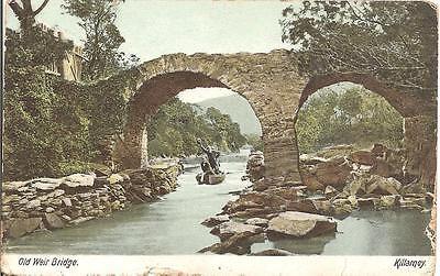 RARE LOVELY VINTAGE EARLY POSTCARD,OLD WEIR BRIDGE,KILLARNEY,IRELAND 1904