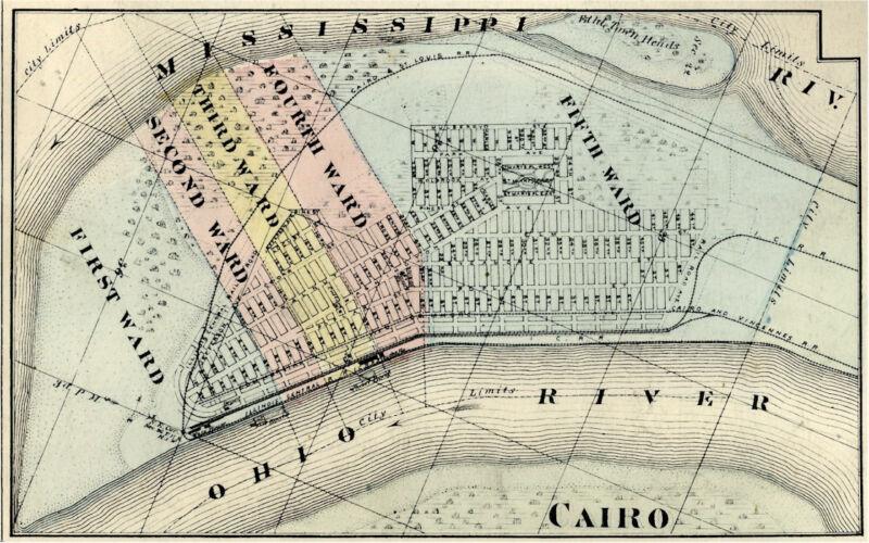 Cairo Illinois Alexander Co IL 1876 Map Genealogy