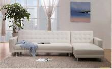 White 5 seater Pu leather sofabed on sale now Homebush West Strathfield Area Preview