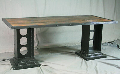 Modern Industrial Desk. Girder Legs. Reclaimed Wood And Steel. Vintage.