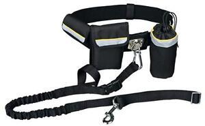 Bauchgurt mit Leine und Taschen, Joggingleine, Expanderleine, Hundeleine (T1275)