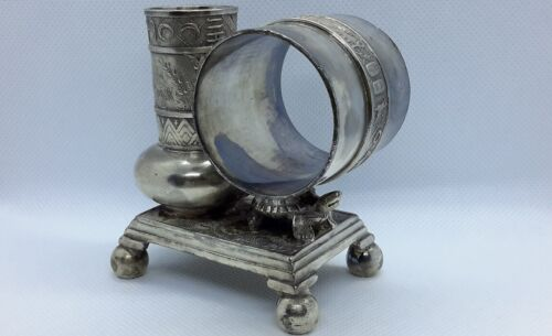 Napkin Ring Holder Toothpick Holder Derby Silver Plate Egyptian Revival. Turtle