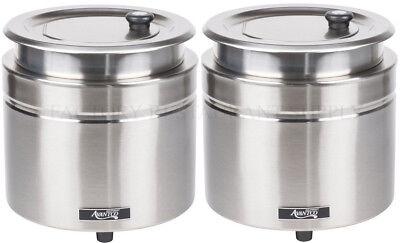 2 Pack Avantco 11 Qt Stainless Steel Soup Kettle Warmer Commercial Restaurant